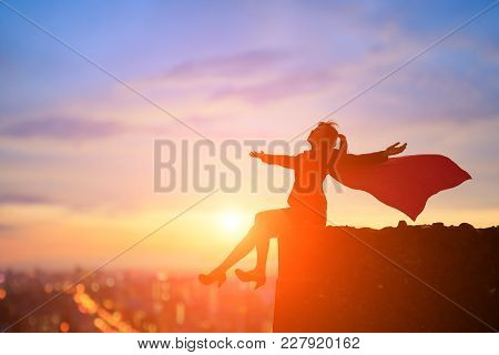 Silhouette Of Super Business Woman Feel Free On The Mountain