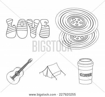 Vinyl Discs, Guitar, Tent.hippy Set Collection Icons In Outline Style Vector Symbol Stock Illustrati