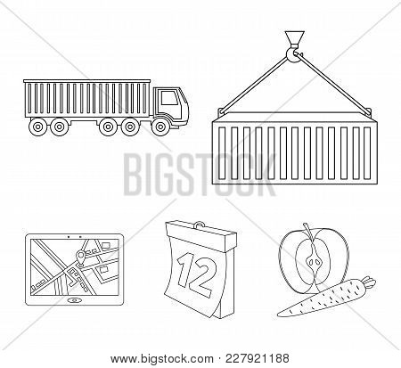 Metal Container, Calendar, Truck, Gps Navigator.logistic Set Collection Icons In Outline Style Vecto