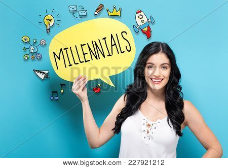 Millennials With Young Woman Holding A Speech Bubble