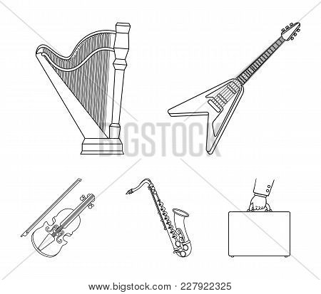 Electric Guitar, Loudspeaker, Harp, Saxophone, Violin.music Instruments Set Collection Icons In Outl