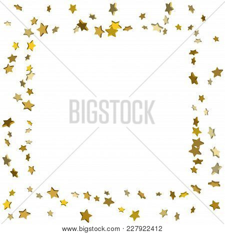 Gold Volumetric Star-confetti Fall On A White Background.  Illustration Of Flying Shiny Stars. Decor