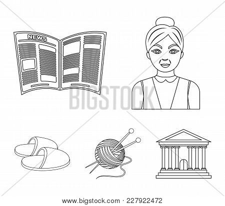 An Elderly Woman, Slippers, A Newspaper, Knitting.old Age Set Collection Icons In Outline Style Vect