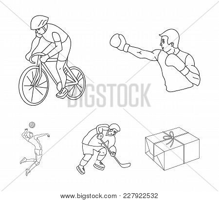 Cycling, Boxing, Ice Hockey, Volleyball.olympic Sport Set Collection Icons In Outline Style Vector S