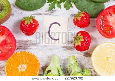 Fruits And Vegetables As Sources Vitamin C, Natural Minerals And Dietary Fiber, Healthy Food And Str