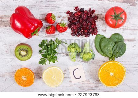 Fresh Fruits And Vegetables As Sources Vitamin C, Natural Minerals And Dietary Fiber, Healthy Food A
