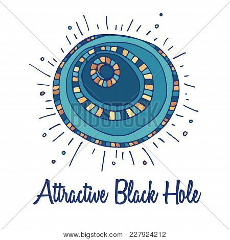 Black Hole Logo. Hand Drawn Full Color Brand Sign