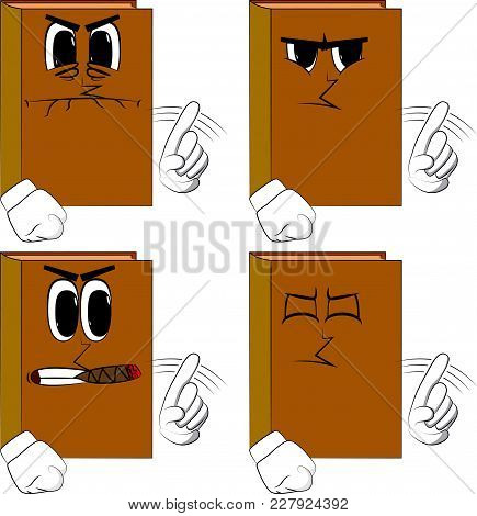 Books Saying No With His Finger. Cartoon Book Collection With Angry Faces. Expressions Vector Set.