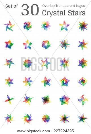 Set Of 30 Overlap Transparent Crystal Star Logo Icon Multicolor