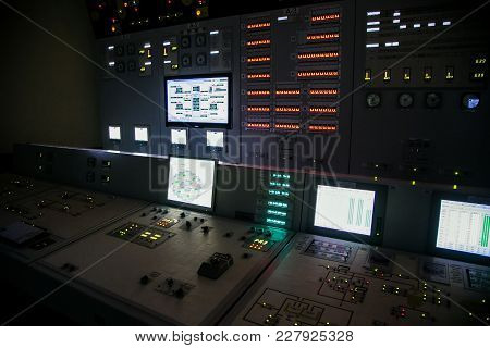 Lock Control Panel Of Nuclear Power Plant Operates On A Backup Power Supply During An Accident Simul