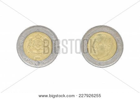 Five Moroccan Dirham Coin Isolated On White Background