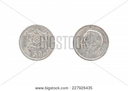 Fifty Moroccan Santimat Coin Isolated On White Background