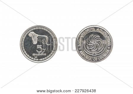 Five Georgian Tetri Coin Isolated On White Background
