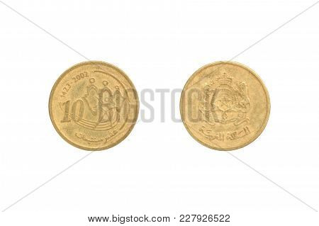 Ten Moroccan Santimat Coin Isolated On White Background