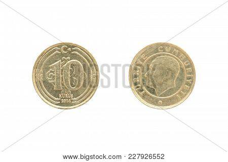 Ten Turkish Kurush Coin Isolated On White Background