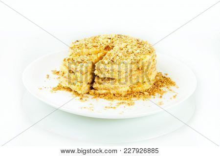 Puff Homemade Cake With Custard And Biscuit Crumb