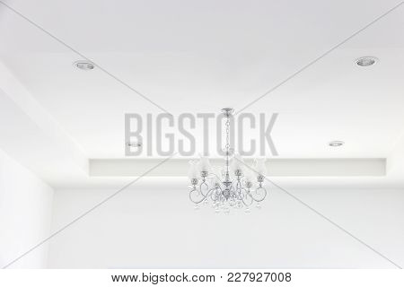 Industry Under Construction Building Home Empty Room Interior Chandelier On Ceiling Gypsum
