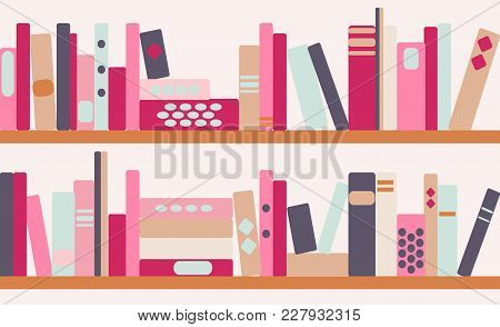 Vector Illustration Of Horizontal Banner Of Bookshelves With Retro Style Books