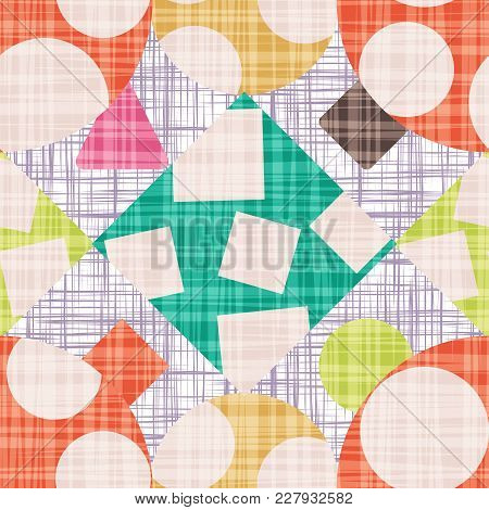 Grunge Design Backdrop With Geometric Shapes Vector Illustration. Seamless Pattern Background With R