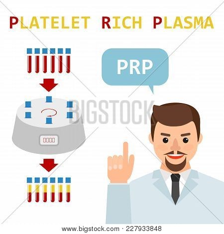 Platelet Rich Plasma. Male Doctor Explains The Generation Modern Method Of Treatment Of Prp. Test Tu