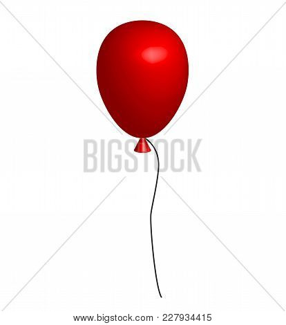 Realistic Red Balloon On White Background. 3d Red Balloon. 3d Balloon Sign. Festive Red Balloon