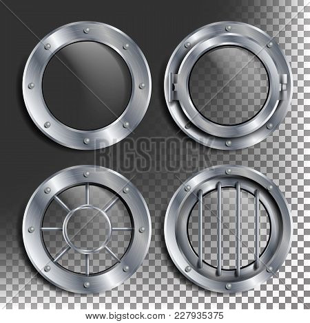 Porthole Vector. Round Silver Window With Rivets. Bathyscaphe Ship Metal Frame Design Element. For A