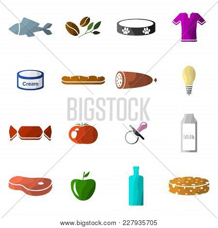 Vector Image Of Set Of Icons Of Departments In A Supermarket. Flat. Sixteen Icons. Multicolored.