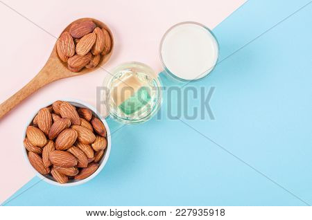 Organic Milk Almond With Almond Seed And Almond Oil With Empty Space.