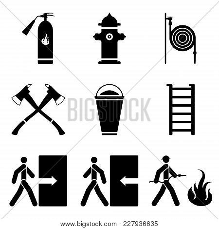 Vector Image Of Fire Extinguishing Icons - Fire Extinguisher, Fire Hydrant, Fire Hose, Ax, Sand, Lad