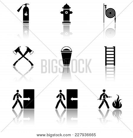 Vector Image Of Fire Extinguishing Icons - Fire Extinguisher, Fire Hydrant, Fire Hose, Ax, Sand, Sta
