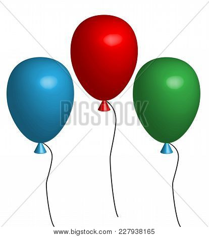 3d Three Balloon. Three Multicolored Balloons On White Background. 3d Balloons With Color Of Blue, G