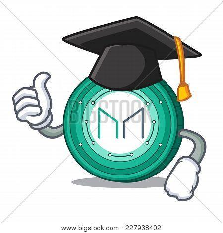 Graduation Maker Coin Character Cartoon Vector Illustration