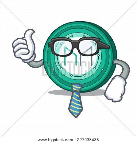 Businessman Maker Coin Character Cartoon Vector Illustration