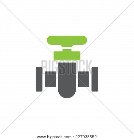 Pipe Connector Icon Vector, Filled Flat Sign, Bicolor Pictogram, Green And Gray Colors. Pipe Valve S