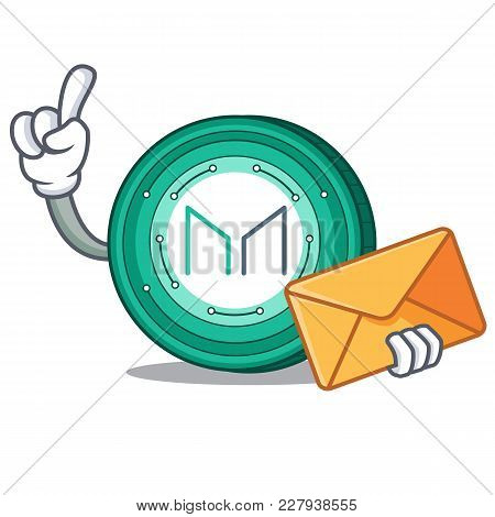 With Envelope Maker Coin Character Cartoon Vector Illustration