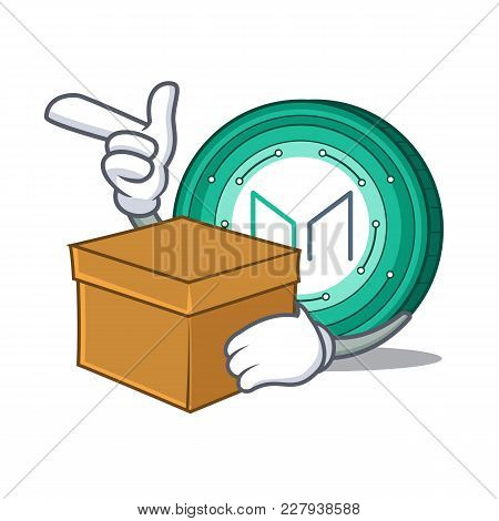With Box Maker Coin Character Cartoon Vector Illustration