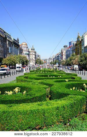 Prague, Czech Republic - August 30, 2017; Manicured Formal Gardens In Center Wenceslas Square People