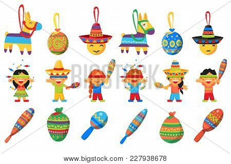 Pinata, Elements For Mexican Party, Children Breaking Traditional Donkey Shaped Pinata Vector Illust