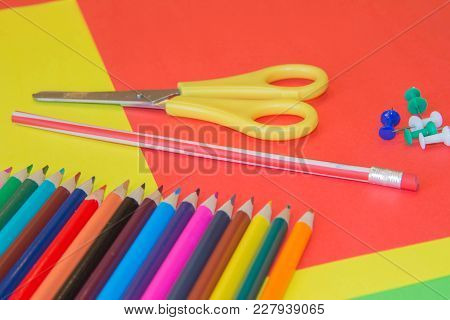 Background From Color Pencils On Colored Paper. Art Of Color Pencils As Wallpaper