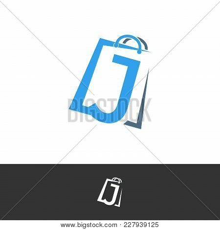 J Letter With Paper Bag In The Back. Abstract Initial Alphabet Logo Design Template Element
