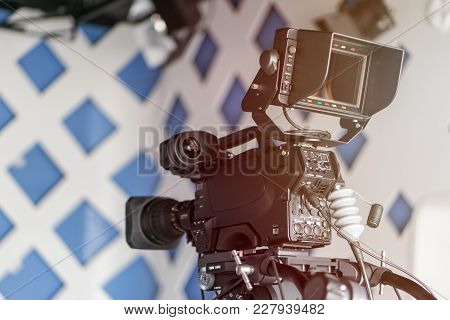Covering An Event With A Video Camera., Professional Operator Taking Video Inside Room Space. Tv Cam