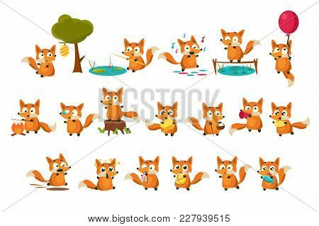 Cute Fox Cub Character Doing Different Activities Set, Funny Forest Animal In Different Situations V