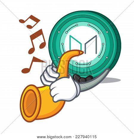 With Trumpet Maker Coin Mascot Cartoon Vector Illustration