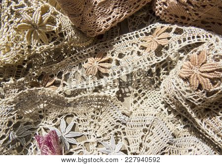 Beautiful  Vintage  Lace Background  On The Table .russian Bobbin Lace.