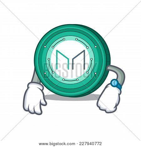 Waiting Maker Coin Mascot Cartoon Vector Illustration