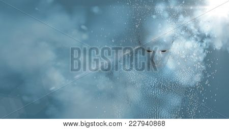 Digital composite of 3D male shaped binary code AI with clouds and blue background with flare