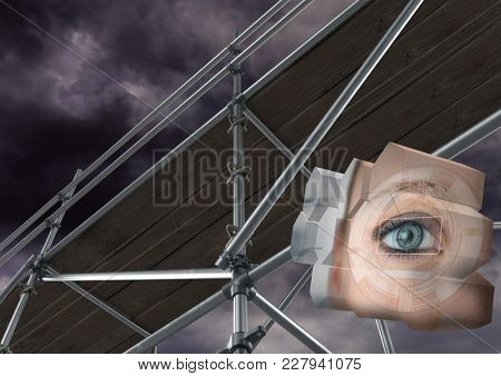 Digital composite of Eye structure with 3D Scaffolding