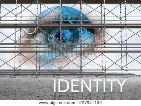 Digital composite of Identity Text with 3D Scaffolding with eye interface