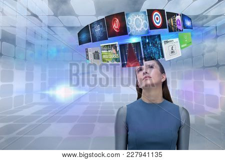 Digital composite of Composite image of woman and 3d items