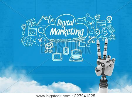Digital composite of Android hand OK gesture and Digital marketing text with drawings graphics